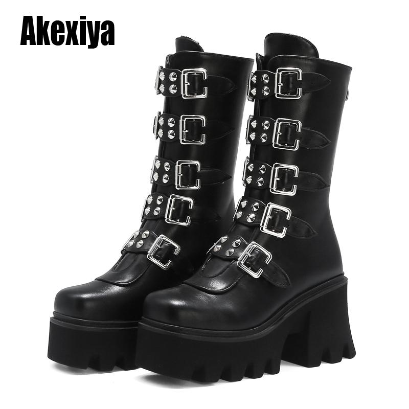 Winter Gothic Punk Womens Platform Boots Black Buckle Strap Zipper Creeper Wedges Shoes Mid Calf Military Combat Boots U542