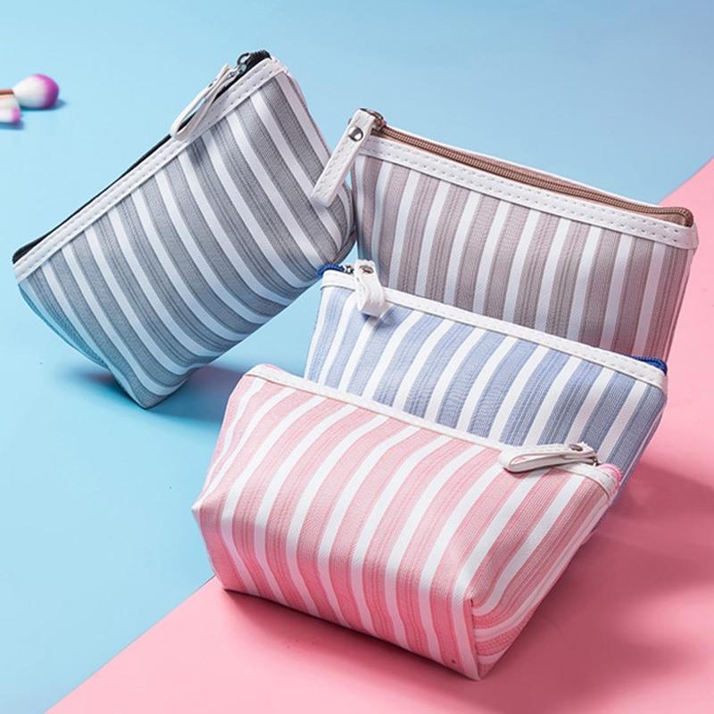 Women Canvas Cosmetic Makeup Bag Striped Travel Toiletry Portable Pouch Bag Zipper Mini Makeup Bags Hot Pink Blue Fashion Bag