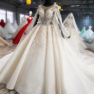 Image 3 - HTL1004 vintage wedding dress with cape illusion o neck sleeve shawl lace up back beads bride wedding gowns luxury robe mariee