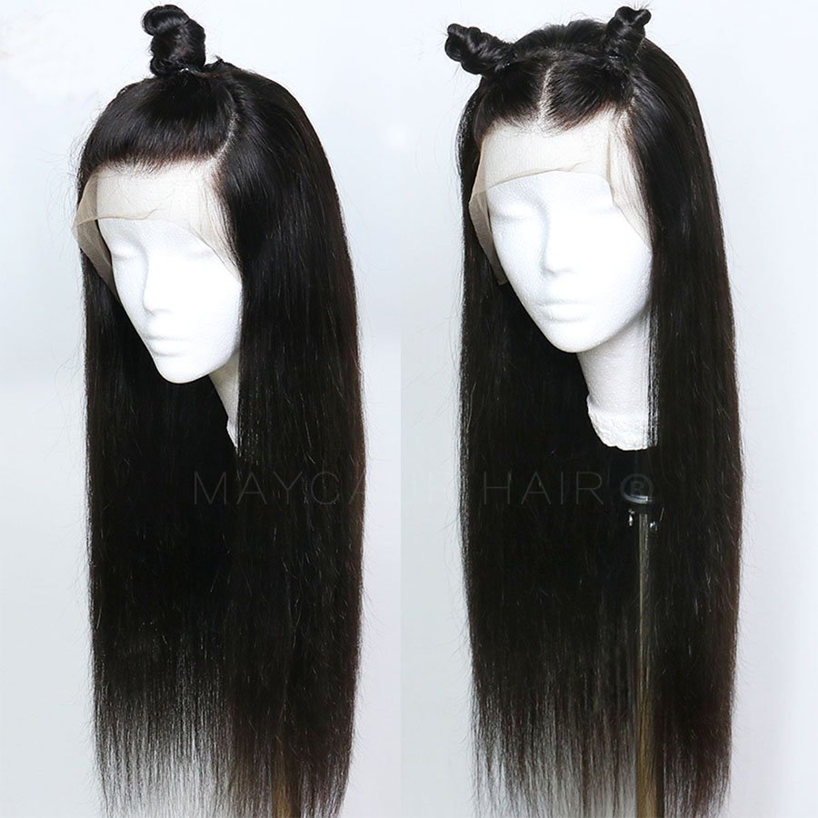 Maycaur Black Long Straight Synthetic Lace Front Wigs For Black Women Gluless Wig With Natural Hairline