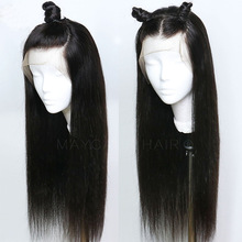 Wigs Natural-Hairline Lace-Front Maycaur Black Straight Synthetic Gluless-Wig Women Long