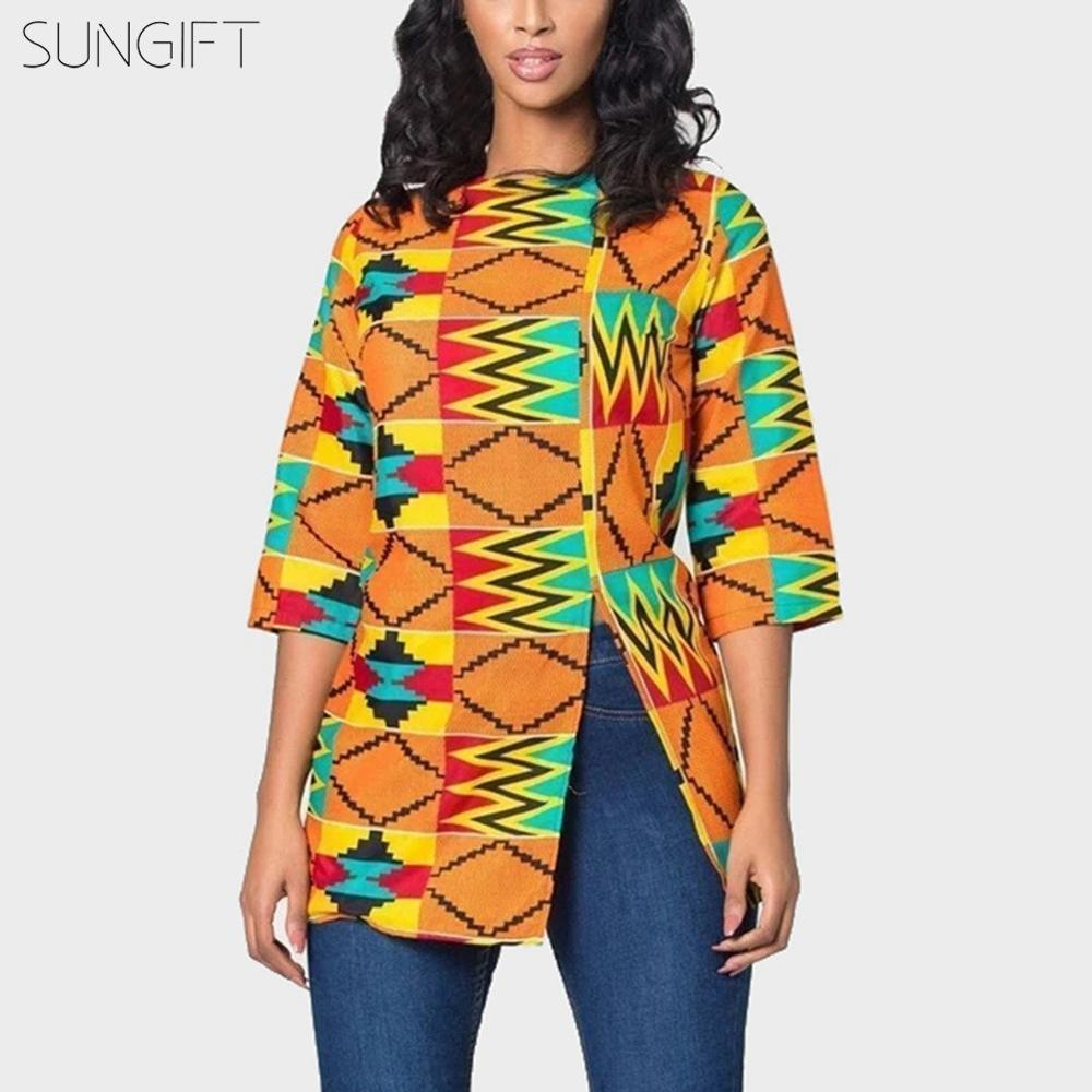 SUNGIFT African Top For Women Dashiki African Print Ankara Casual T-shirt Slim Split Round Neck Short Sleeve Africa Clothing