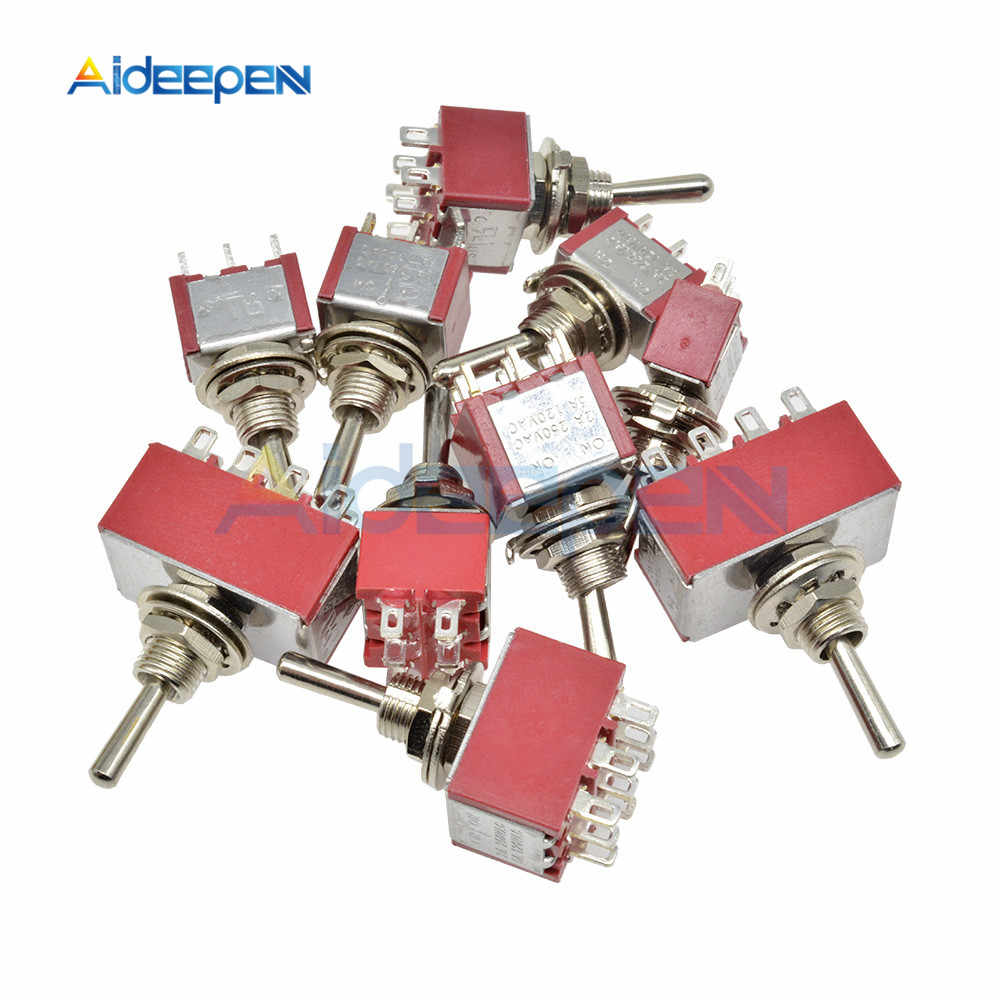 Mini Toggle Switch ON-On On-Off-On 2/3/6/9/12 Pin MTS-102 MTs/103/202/203/302/303/402/403/123/223 Beralih dengan 6MM Cap