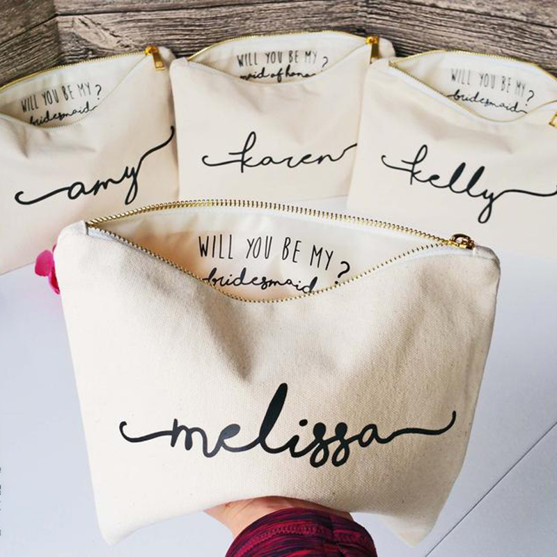 Personalized Makeup Bag - Inside Message - Bridesmaid Bag - Bridesmaid Gift - Bridesmaid Proposal - Bridal Clutch