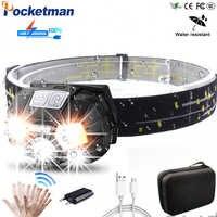 Puissant 10000Lms LED phare Rechargeable capteur de mouvement du corps phare Camping lampe de poche phare lampe torche avec USB z90
