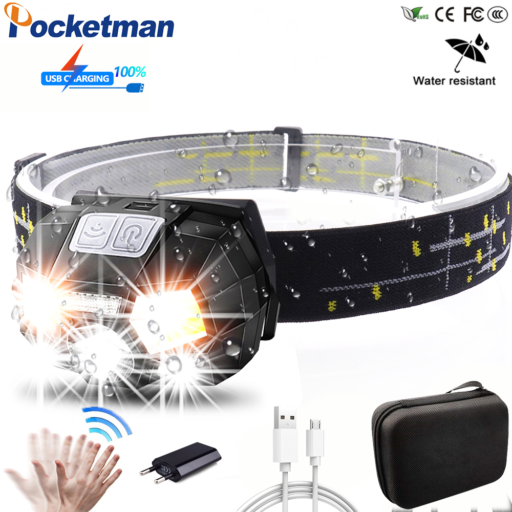 Powerfull 10000Lms LED Headlamp Rechargeable Body Motion Sensor Headlight Camping Flashlight Head Light Torch Lamp With USB Z90