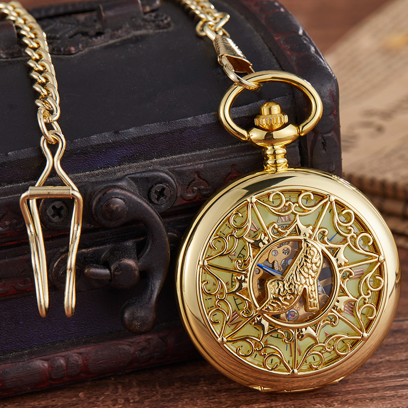 2020 Mechanical Pocket Fob Watch Pendent Chain Hige Heel  Transparent Hollow Metal Vintage Pocket Clock Men Relogio De Bolso