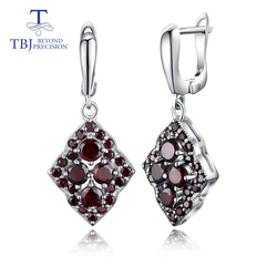 TBJ, Unique design style natural gemstone garnet earrings 925 sterling silver fine jewelry for woman & girl daily wear gifts