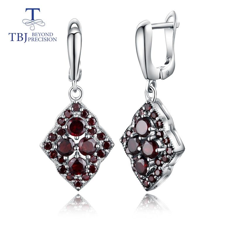 TBJ, niepowtarzalny styl projektowania naturalny kamień granat kolczyki 925 sterling silver fine jewelry dla kobiet i dziewcząt na co dzień prezenty w Kolczyki od Biżuteria i akcesoria na  Grupa 1