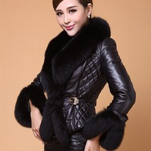 New Autumn Winter Women Faux Leather Jacket Turn-Down Collar Fur Luxury Jackets Short Black