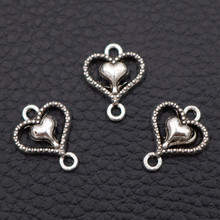 50pcs Antique Silver Mini Bracelet Earrings Connector Love Hearts Charms Double-Hearts Pendant DIY Metal Jewelry Accessories A43