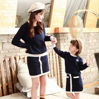 Family Matching Outfits Mother Daughter Cardigan+Knit Skirt 2 Matching Family Clothing Sets Mother & Kids Knit Clothing Set
