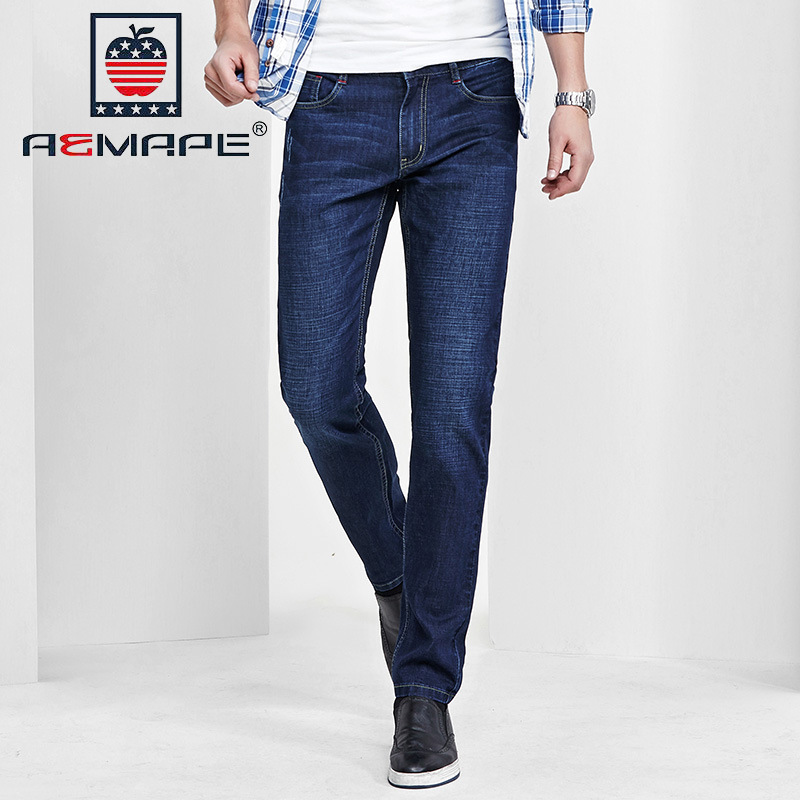 US IPhone Spring And Summer Men Thin Jeans Elasticity Korean-style Slim Fit Large Size Men's Trousers Business Casual Trousers