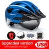 Victgoal mtb capacete da bicicleta moutain estrada usb recarregável backlight ciclismo capacete viseira sol polarizado óculos de proteção luz da bicicleta capacetes 12