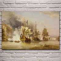 historic sea battle military artwork sailing ship living room decoration home wall art decor wood frame fabric posters KL264