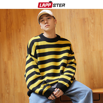 LAPPSTER Pullover Men Korean Fashions Striped Sweater 2020 Winter Harajuku Streetwear Sweater Male Hip Hop Oversize Clothing