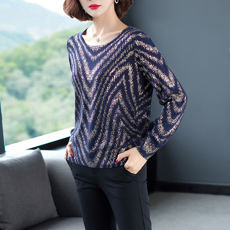 YISU Women Striped print sweater 2019 Autumn Winter New Knitted Pullover Long Sleeve O-neck Casual jumper Loose Sweater Women 29