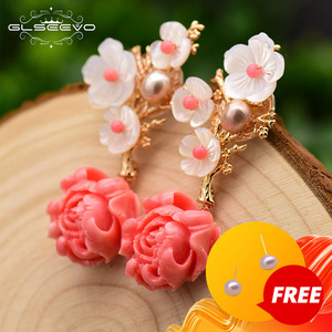 Image 1 - GLSEEVO Real 925 Sterling Silver Pink Coral Drop Earrings White Pearl Pink Natural Stone Shell Flower Dangle Earrings GE0024