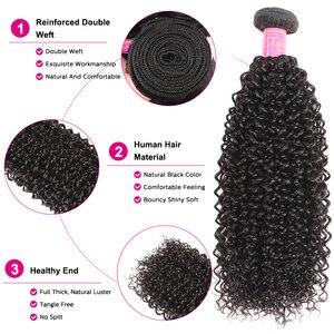 """Image 5 - マレーシアのカーリー人間の髪のバンドルナチュラルカラー 8 """" 26"""" アリジュリア人間の髪織りエクステンション 1/3/4 個毛束"""