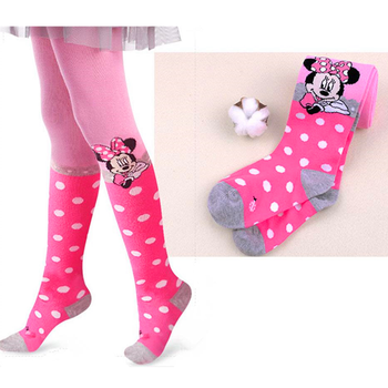 Disney Mickey Mouse Pattern Tights For Girls Cute Pink Cotton Knitted Pantyhose Stockings For Babys Infant Tights For 2-10Y New 1