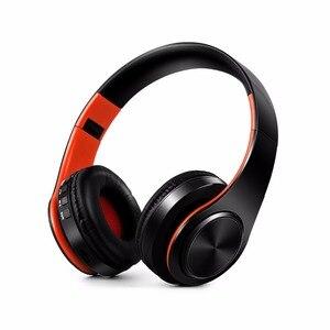 Image 2 - 새로운 휴대용 무선 헤드폰 블루투스 하이파이 스테레오 접이식 헤드셋 오디오 Mp3 조정 가능한 이어폰, 음악 용 마이크 포함