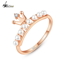 купить SaiSee Rose Gold Color Imitating Pearls Ring 925 Sterling Silver Princess Queen Crown Ring For Women CZ Zircon Engagement Ring дешево