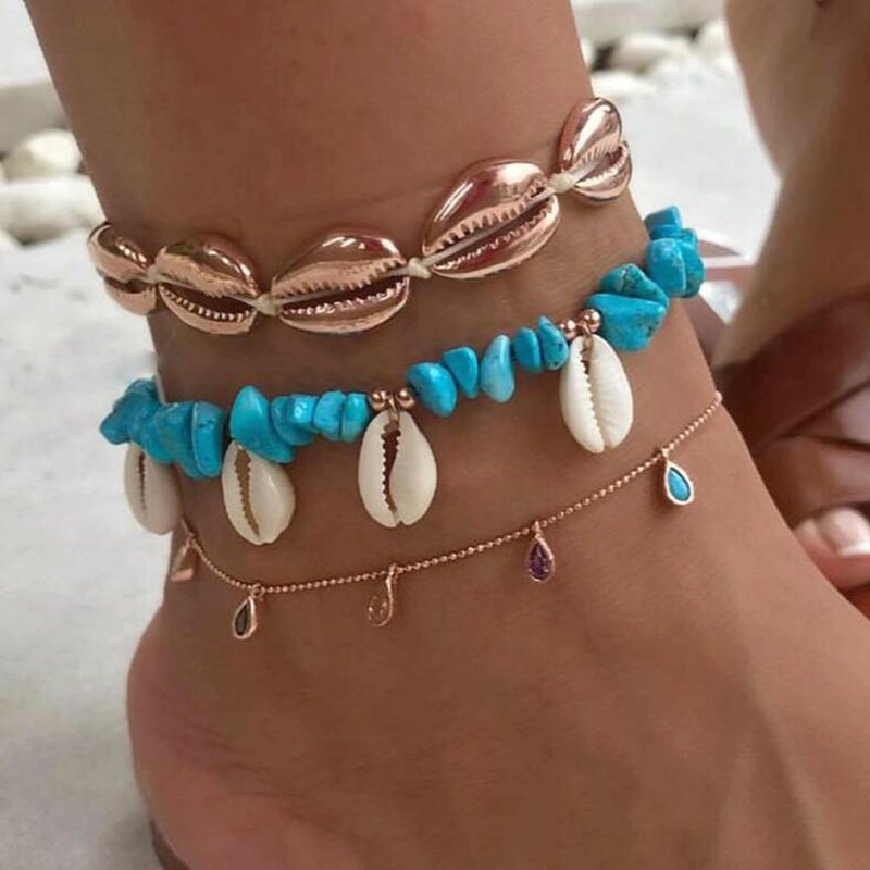 Tocona 3pcs/sets Bohemian Shell Stone Anklets for Women Beach Wtar Drop Crystal Feet Leg Chain Summer Jewelry Accessories 7073