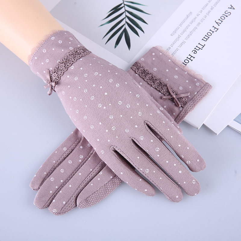 Lace Spring Summer Driving Gloves Printing Finger Gloves Spot Wholesale Non-slip Touchscreen Sunscreen Gloves