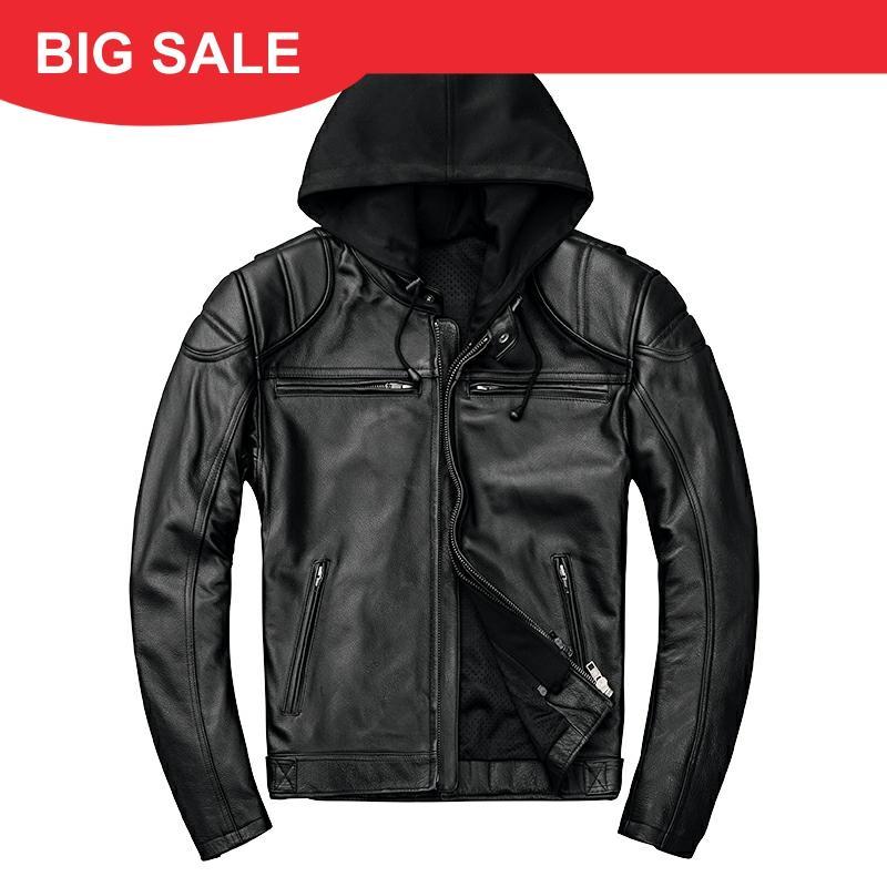 2020 Black Men Hood American Motorcycle Leather Jacket Plus Size XXXXL Genuine Cowhide Autumn Biker's Leather Coat FREE SHIPPING