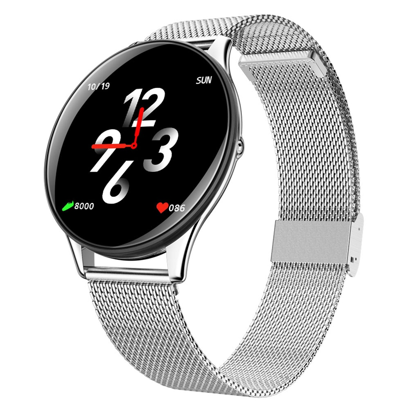 SN58 Tempered Glass Screen Steel Strap Smart Watch IP68 Waterproof Heart Rate Monitor Blood Pressure For Android IOS Phone