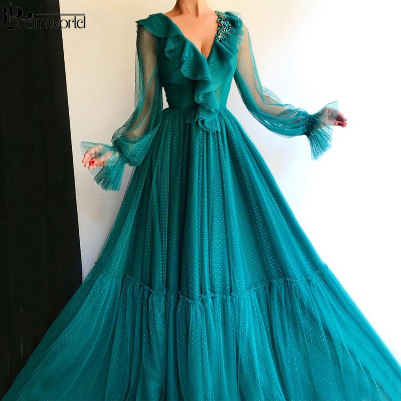 Abendkleider Teal Full Sleeves Muslim Evening Dresses Long Tulle V-Neck Crystal Dubai Caftan Formal Party Gown Prom Dress 2020