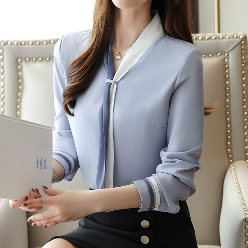 Plus Size OL Office Women Tops And Blouse Vintage Long Sleeve Chiffon Tops Blusas Mujer De Moda 2019 Elegant Autumn Blouses