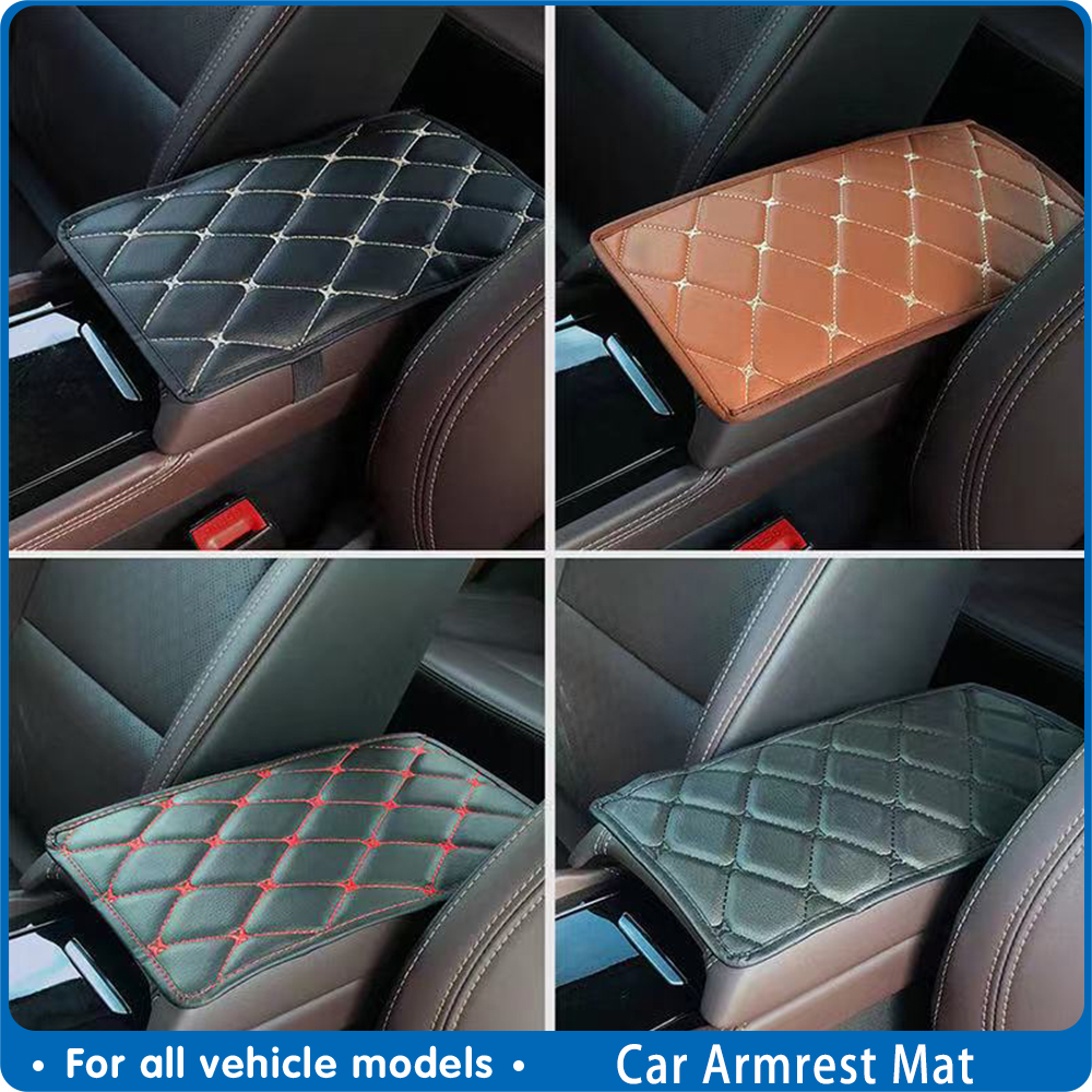 Car Armrest Mat Auto Interior Armrests Storage Box Mats Leather Storage Box Carpet Protector Pad Goods Car Styling Accessories