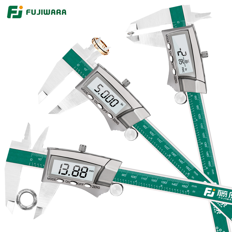 FUJIWARA Digital Display Stainless Steel Calipers 0 150mm 1/64 Fraction/MM/Inch LCD Electronic Vernier Caliper IP54 Waterproof
