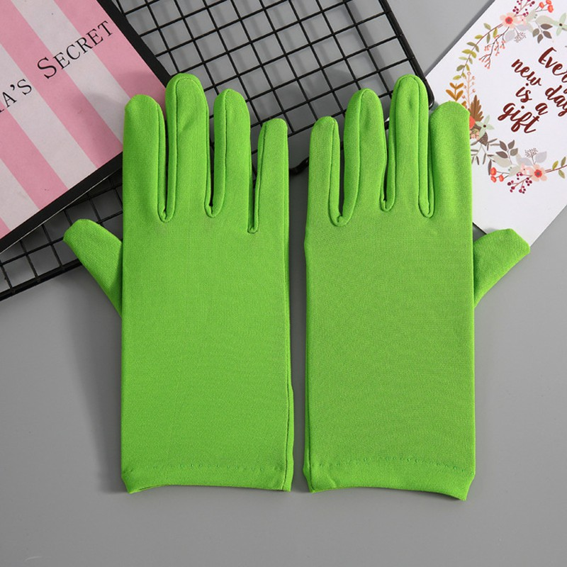 Adult Size Short Green/Pink/Blue Spandex Gloves Classic Women Banquet Wrist Length Yellow Gloves For Party Wedding ST211