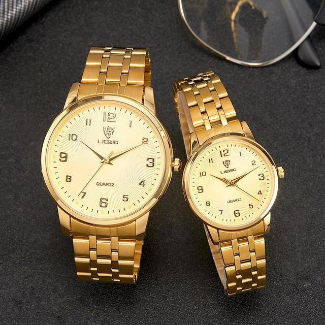 Couple Golden Women Men Watch New Fashion King Queen Lover Wrist watch Luxury Stainless Steel Adjustable Strap reloj mujer L1013