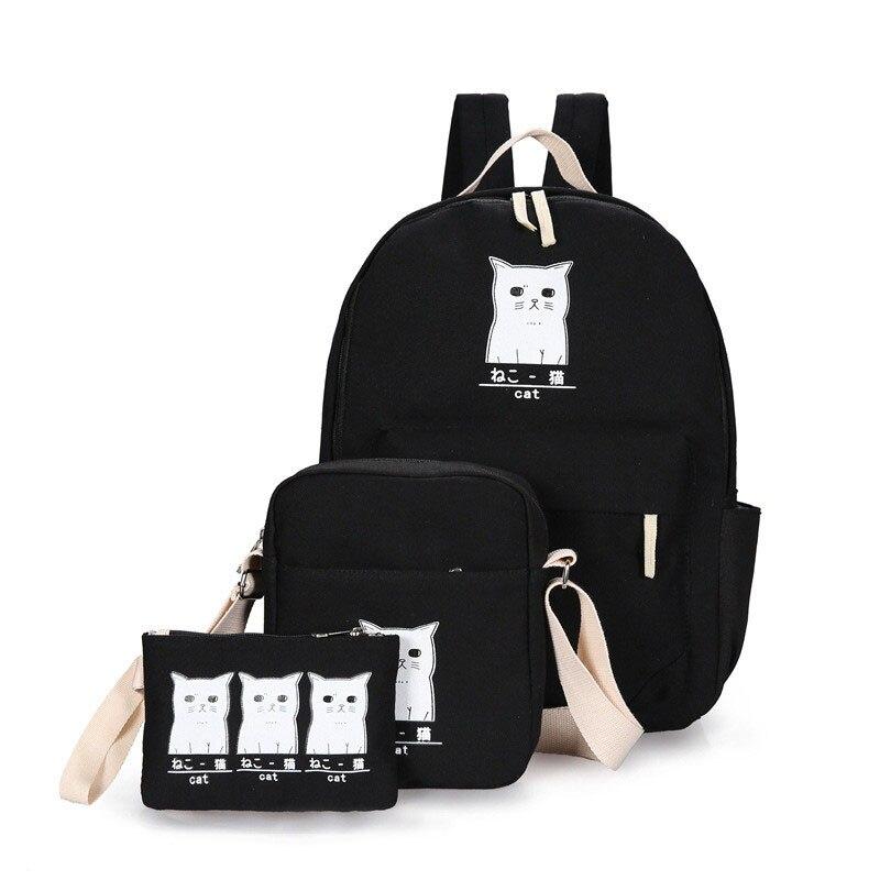 New Preppy Style Women Cat Printing Backpack Canvas School Bags For Teenager Girls 3 Set Rucksack Cute Book Bag Mochila J0601WM