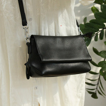 Summer Small Bag Black Women Shoulder Bags Casual Simple Style Genuine Leather Crossbody Bag Lady Flap Solid Messenger Bag 2020