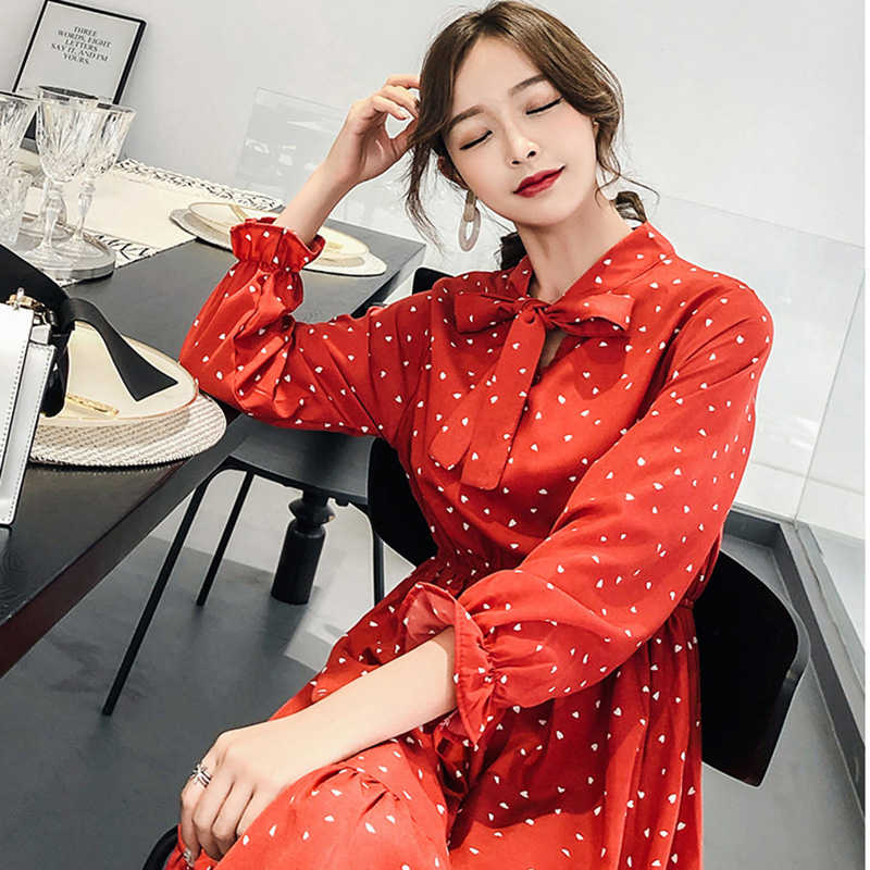 Leiouna ארוך שיפון שרוול פנס סתיו לבן 2019 חדש מזדמן קוריאני אלגנטי נשים קיץ שמלה קיצית עם קשת Bot
