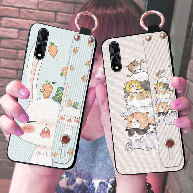 Cute Cat Rabbit Phone Cases For Vivo IQOO Neo S5 Z5X V17 Pro S1 India Z5 IQOO Pro 5G Fashion Stand Lanyard Back Cover