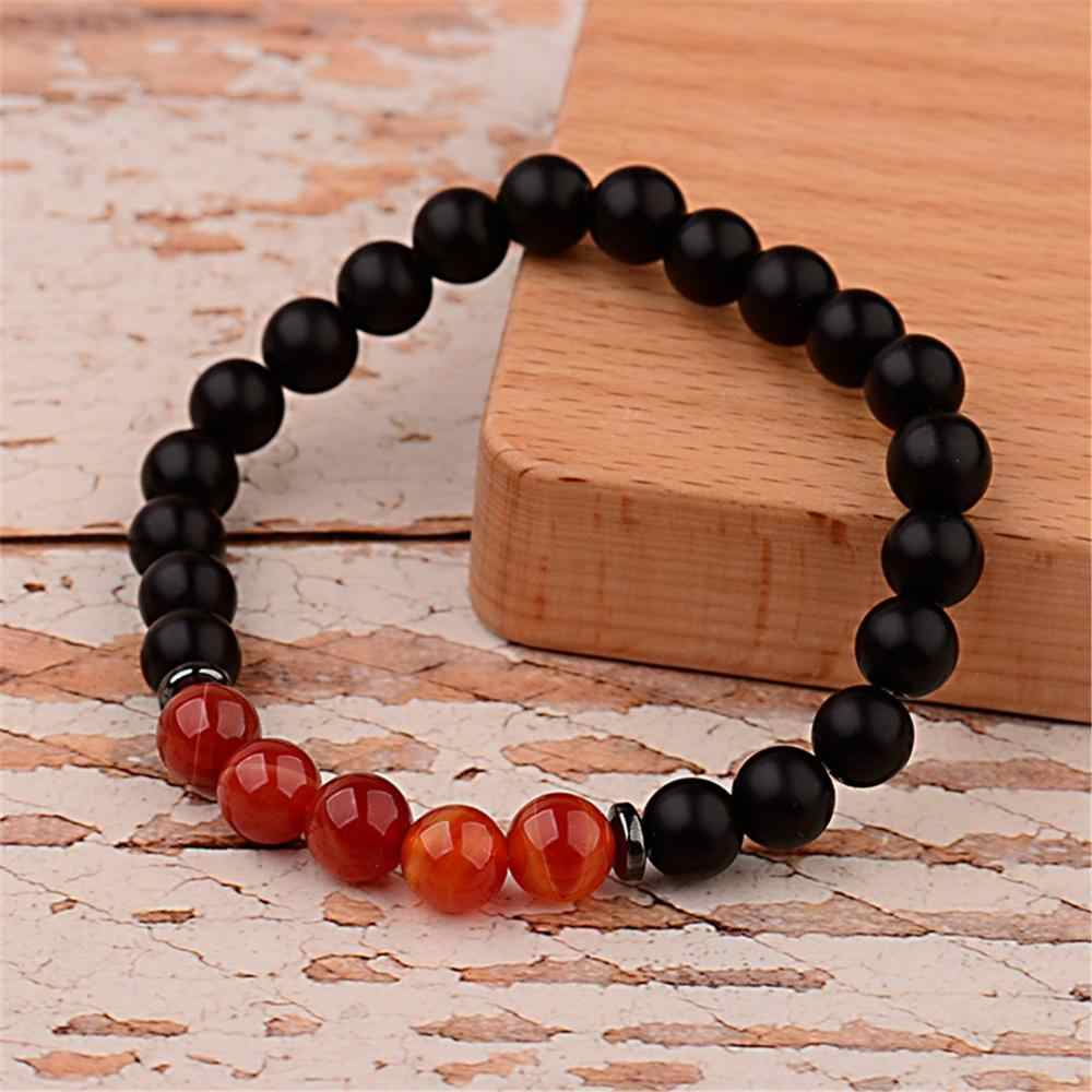 קרטר ליזה קסם גברים טבעי שחור מט אבן חרוזים צמידי עבודת יד אדום Agates & המטיט אלסטי צמידי תכשיטים טיבטיים