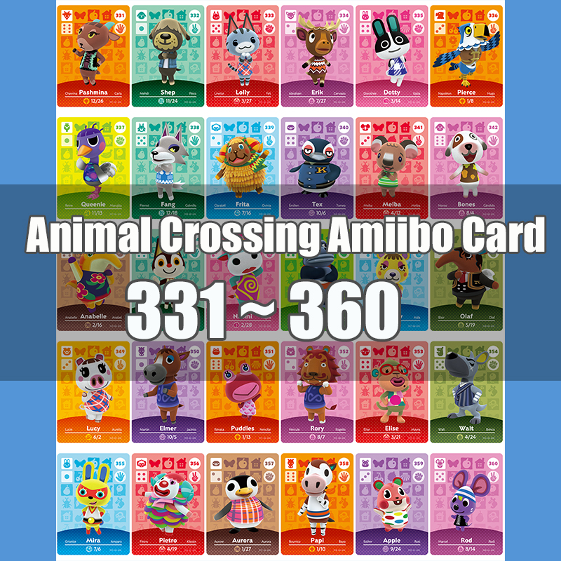 Animal Crossing Amiibo Card Animal Crossing New Horizons Game NFC Lobo Card Work For NS 3DS Game Switch Series 4 (331-360)