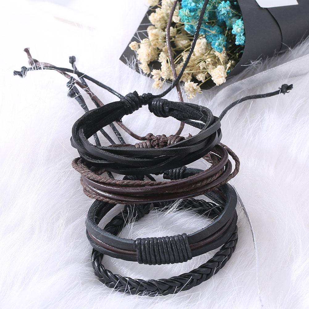 Hot Retro Woven Bracelet Multilevel Cowhide Handmade For Men Leather Bracelet & Bangles Multilayer Wide Wrap Male Gift Jewelry