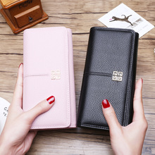 PU Leather Long Brand Design Large Capacity Ladie Wallet for Women