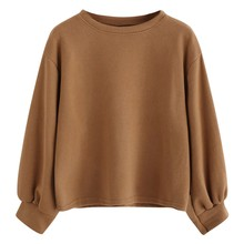 JAYCOSIN Fashion Women Casual Simple Solid Color O-Neck Sweatshirt