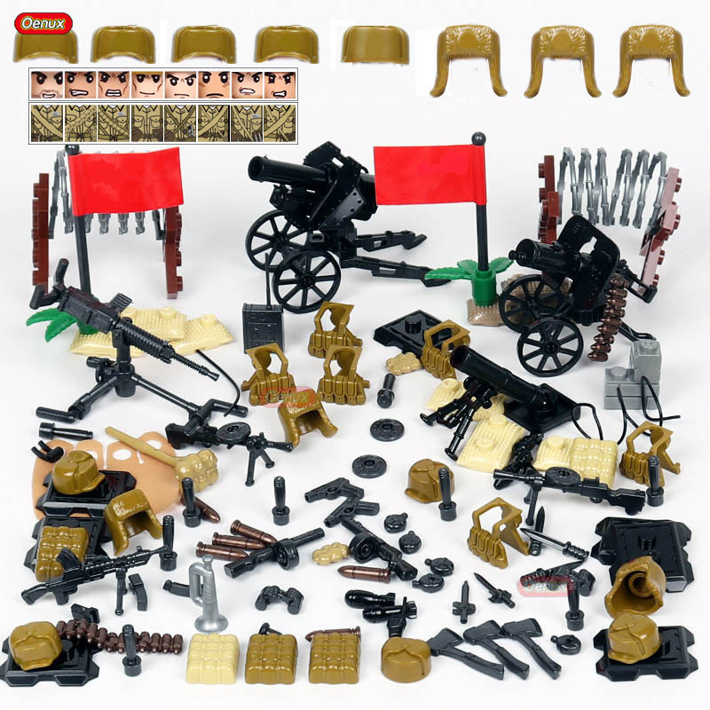Oenux World War 2 The Korean War Military Small Building Block WW2 Chinese People's Leberation Army Soldier Figure Brick Kid Toy|Blocks| |  - title=
