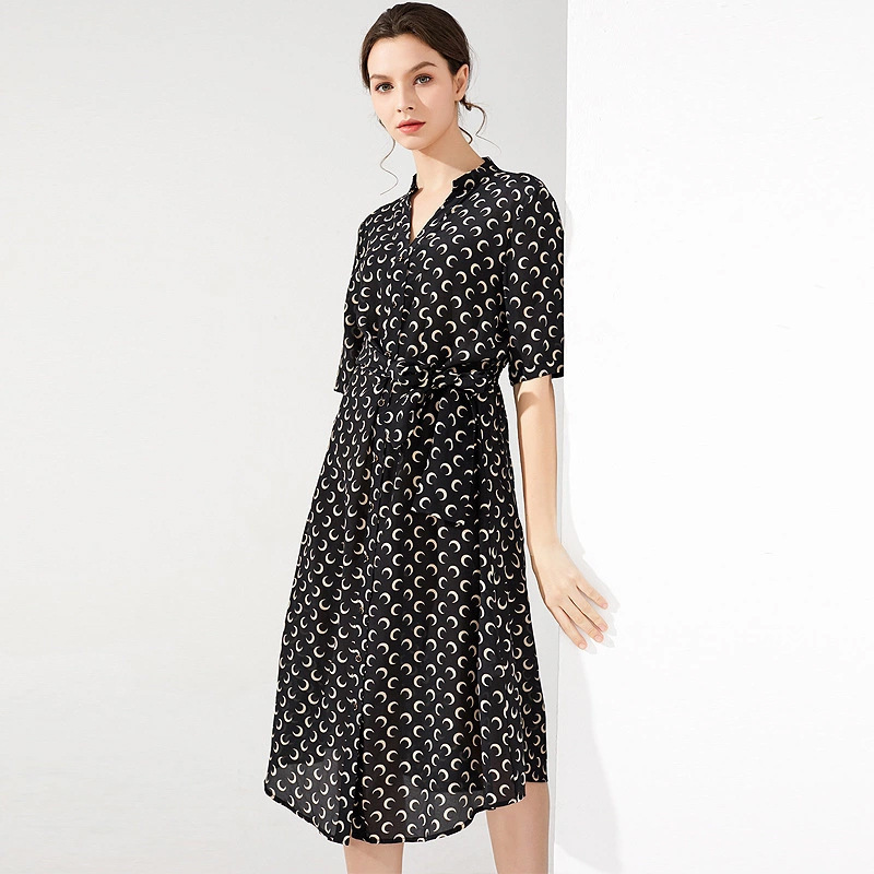 Silk dresses women natural 2020 spring summer black printed white floral office casual sexy beach dress plus size high quality