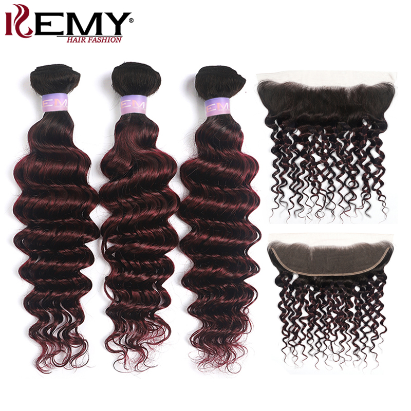 1B/99J Deep Wave Hair Bundles With Frontal 13x4 Brazilian Ombre Hair Weave Bundles With Closure Non-Remy Hair Extension