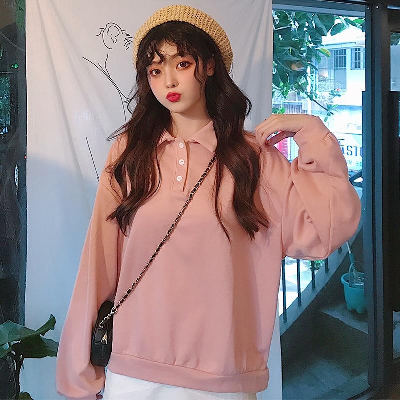 MinuoYi In Stock Spring Autumn Winter Sweatshirts Korean Solid Polo Women Shirt Loose Boyfriend Style Female