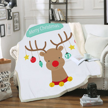 Custom DIY Printing Blanket Elk and Moon Sherpa Fleece Microfiber Wearable Blanket Deer Animal Moonlight manta advken manta tank